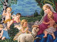 """""""Ангелы и Мадонна"""" картина вышита бисером (35х26 см), 1000"""