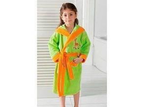 Дитячий махровий халат салатовий на дівчинку 7-8 років