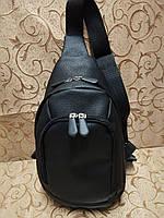 (31*17.5-мал)Барсетка слинг на грудь искусств кожа Унисекс/Cумка спортивные мессенджер для через плечо(ОПТ)  , фото 1