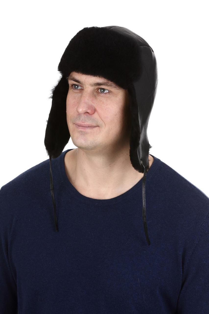 Мужская шапка-ушанка черная из овчины