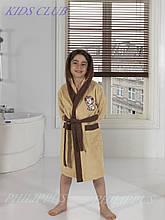 Дитячий махровий халат бежевий на хлопчика 7-8 років