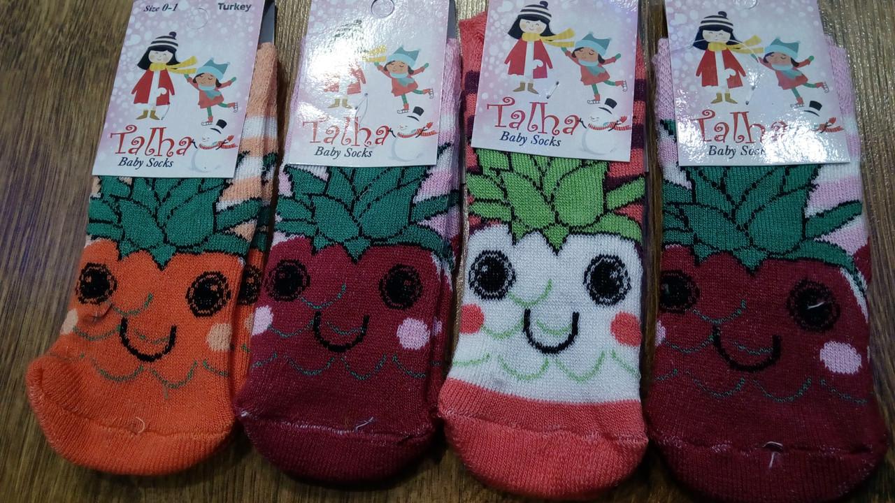 """Детские махровые носки """"Talha"""" Турция,0-1 годик,ананас"""
