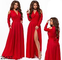 c737228522c Нарядное красное платье в пол с разрезом 825433