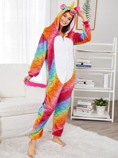 Кигуруми (Kigurumi) это пижама унисекс Комбинезон Зверюшка Зимняя Единорог  радужный рыбка b9c46cec43e03