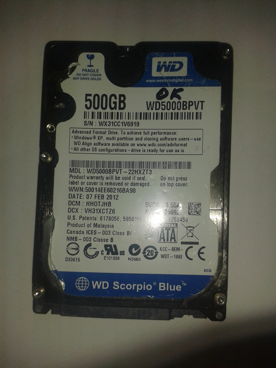 "Жесткий диск Western Digital 500GB 5400rpm 8MB WD5000BPVT SATA, 2.5"" б/у"