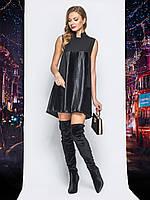 Летюче плаття-трапеція зі вставками з плісировані тканини з напиленням  чорний розмір 44 46 48 a65fe13e33788