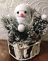 Снеговик на пеньке светящийся