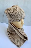 Зимняя теплая шапка с шарфом бежевого цвета