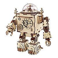 DIY Модель 3D Головоломка Музыка Коробка Деревянное ремесло Набор Робот Machinarium Игрушки со светом Лучший подарок ручной работы 1TopShop