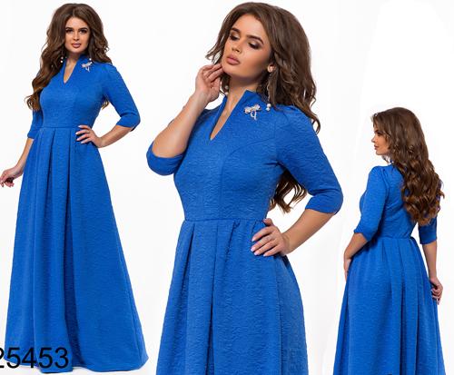 d1803079c12 Длинное нарядное платье с завышенной талией электрик 825453