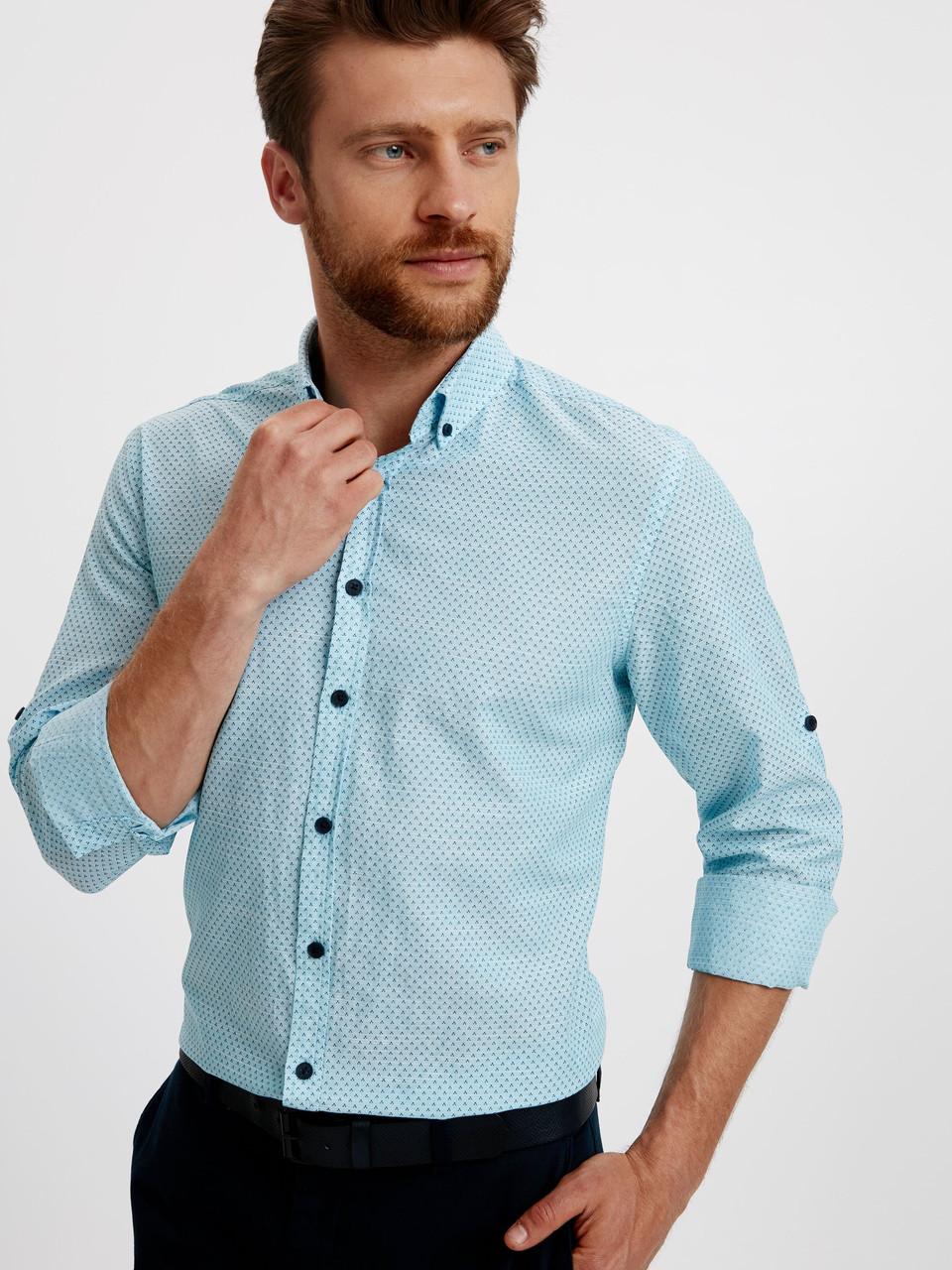 Голубая мужская рубашка Lc Waikiki / ЛС Вайкики в мелкие синие точки