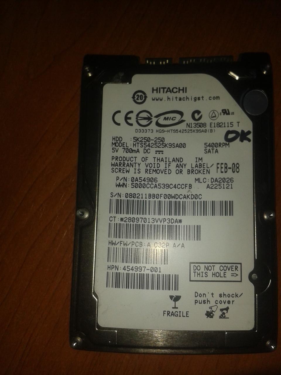 """Жесткий диск Hitachi 250GB 5400rpm 8MB HGST HTS542525K9SA00  SATA, 2.5"""" б/у"""