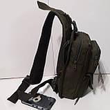 Рюкзак кобура для военных на одно плечо 10 л оливковый, фото 4