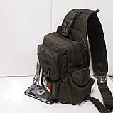 Рюкзак кобура для военных на одно плечо 10 л оливковый, фото 7