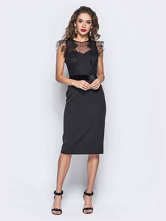 Агатове плаття-футляр з фатіновой кокеткою оксамитовим поясом в тон чорний  розмір 44 46 48 d88b6560b2fec