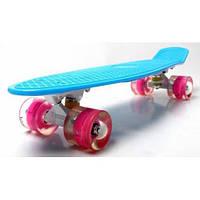 Скейт Penny Board Blue Гравировка Светящиеся колеса (Пенни борд), фото 1