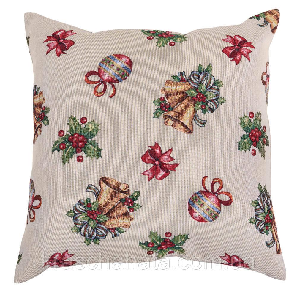 Наволочка новогодняя гобеленовая,  45х45 см, Эксклюзивные подарки, Новогодний текстиль