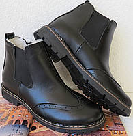 Женские черные ботинки в стиле Timberland оксфорд  натуральная кожа зима мех тепленькие, фото 1