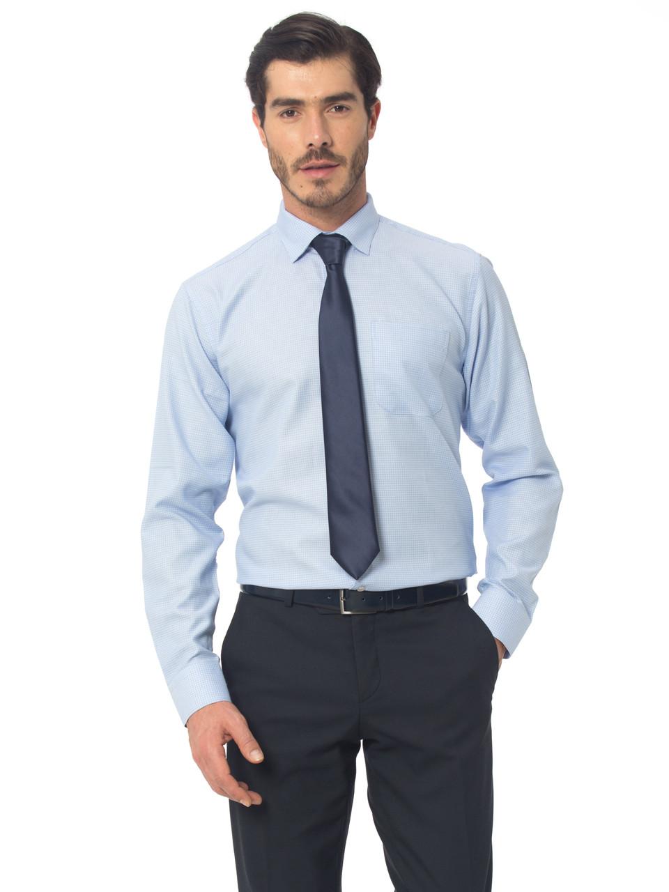 Голубая мужская рубашка Lc Waikiki / ЛС Вайкики в тонкую голубую полоску