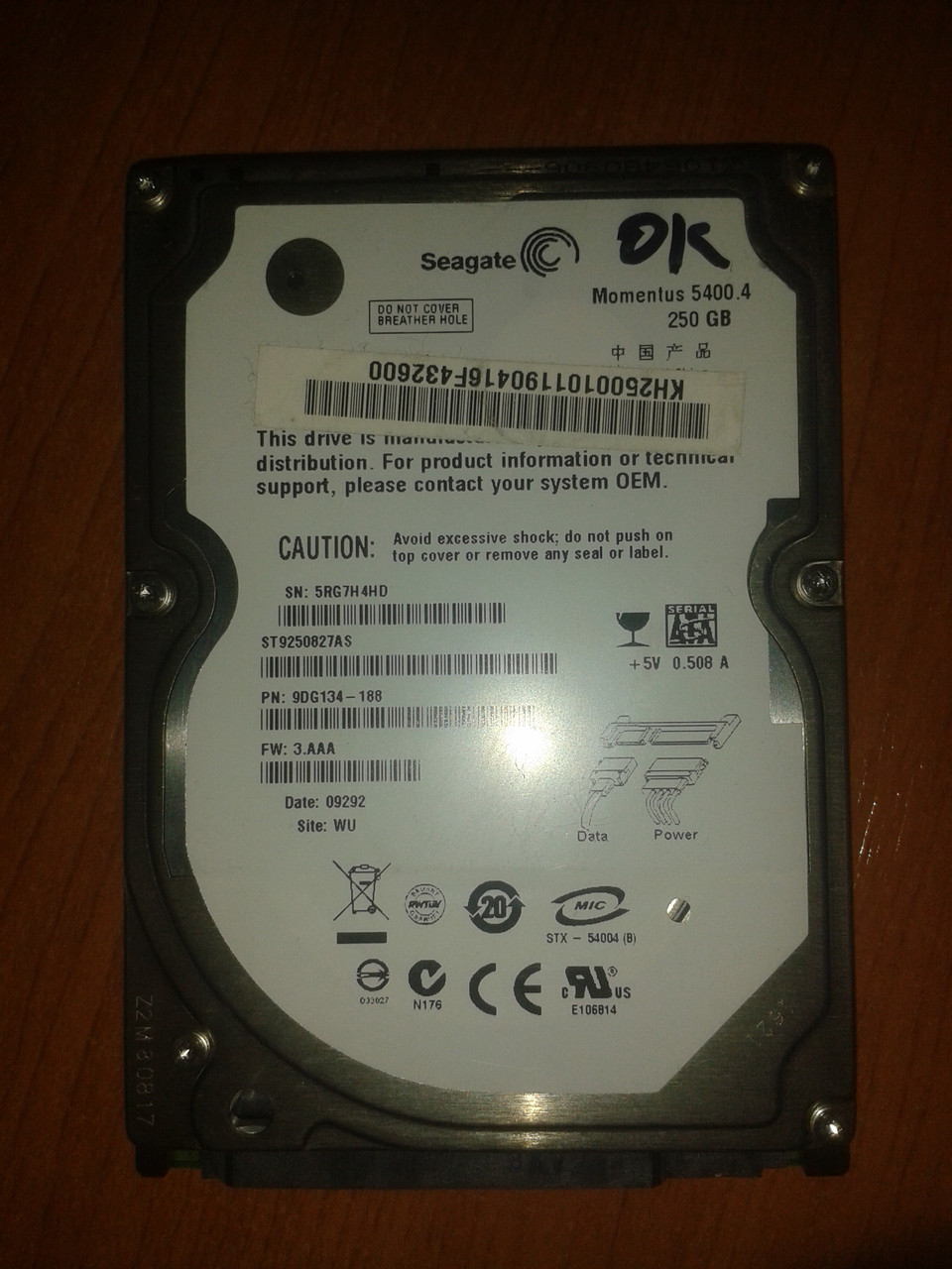 "Жесткий диск Seagate 250GB 5400rpm 8MB ST9250827AS  SATA, 2.5"" б/у"