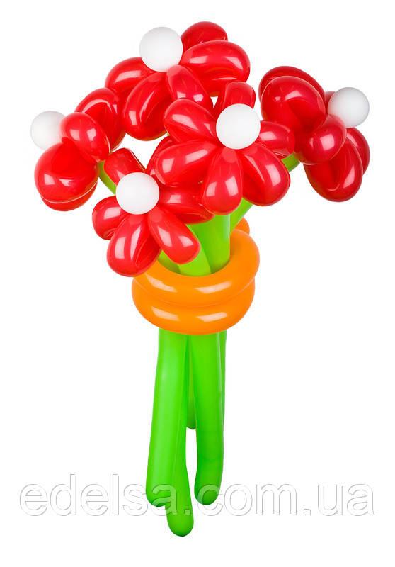 """Букет з повітряних кульок """"червоні ромашки"""" 5 шт"""