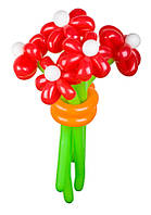 """Букет из воздушных шаров """"красные ромашки"""" 5 шт"""