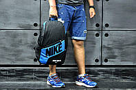Спортивный рюкзак Найк (Nike) черный с синим