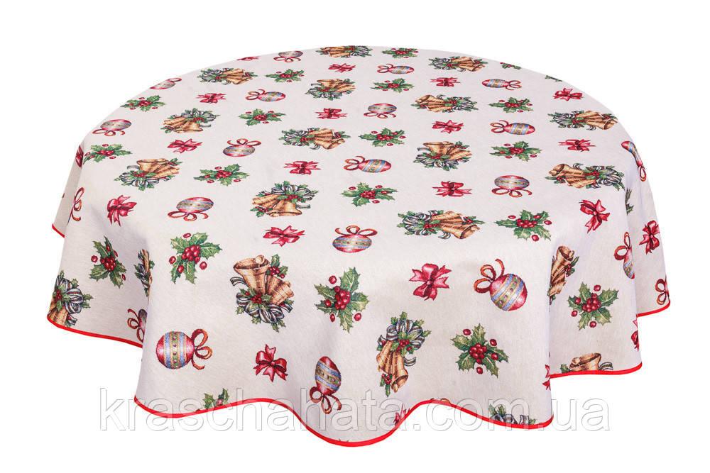 Скатерть новогодняя гобеленовая круглая, D180 cm, Эксклюзивные подарки, Новогодний текстиль