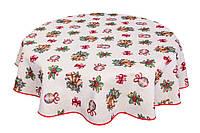 Скатерть новогодняя гобеленовая круглая, D180 cm, Эксклюзивные подарки, Новогодний текстиль, фото 1