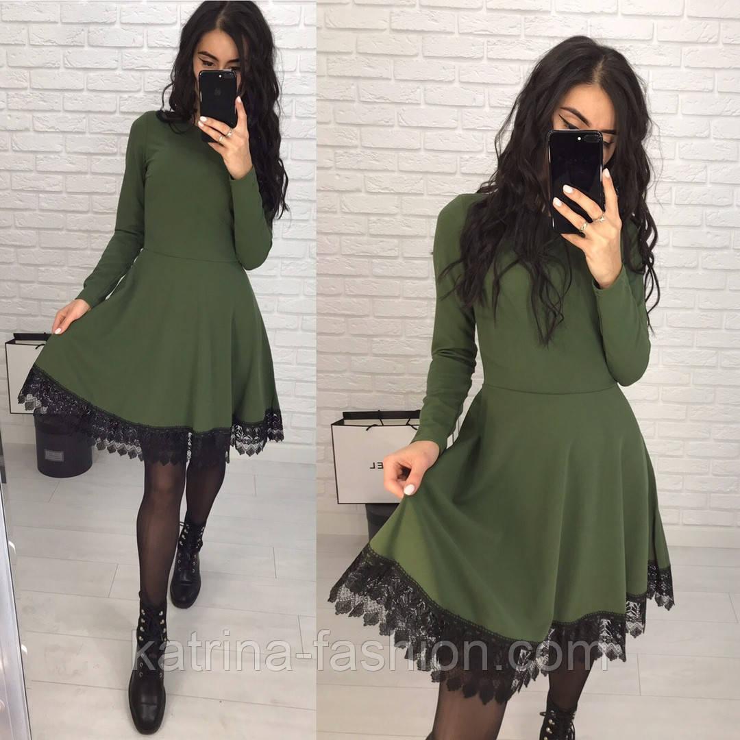 Женское платье с отделкой кружева макраме (2 цвета)