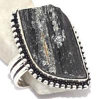 Черный турмалин шерл кольцо с черным турмалином в серебре 19.5 размер Индия, фото 1