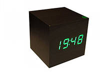 Электронные цифровые настольные часы дерево VST 1293 подсветка Green, фото 1