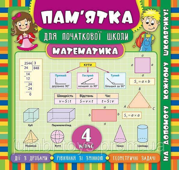 Пам'ятка для початкової школи.Математика. 4 клас