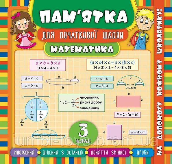 Пам'ятка для початкової школи.Математика. 3 клас