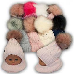 Детский комплект - шапка с двумя помпонами и шарф хомут для девочки, 48-50
