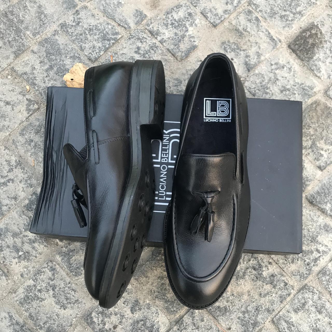 Турецкие мужские кожаные туфли лоферы Luciano Bellini