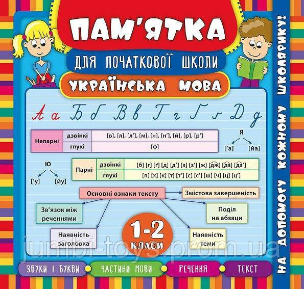 Пам'ятка для початкової школи. Українська мова. 1-2 класи