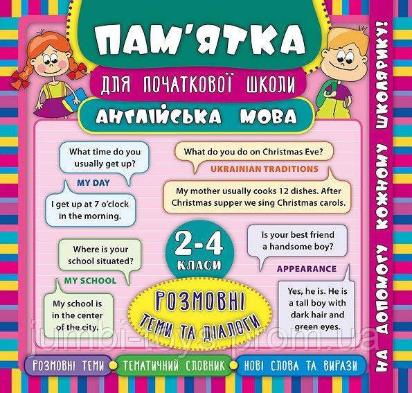 Пам'ятка для початкової школи. Англійська мова. Розмовнi теми та діалоги. 2-4 класи