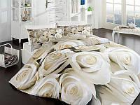 Постельное белье двуспальное евро First Choice 3D BLANCH сатин Турция 200х220 см