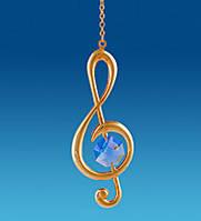 Підвісна фігурка з кристалами Сваровські Музичний ключ 7,5 см AR-1026/ 3