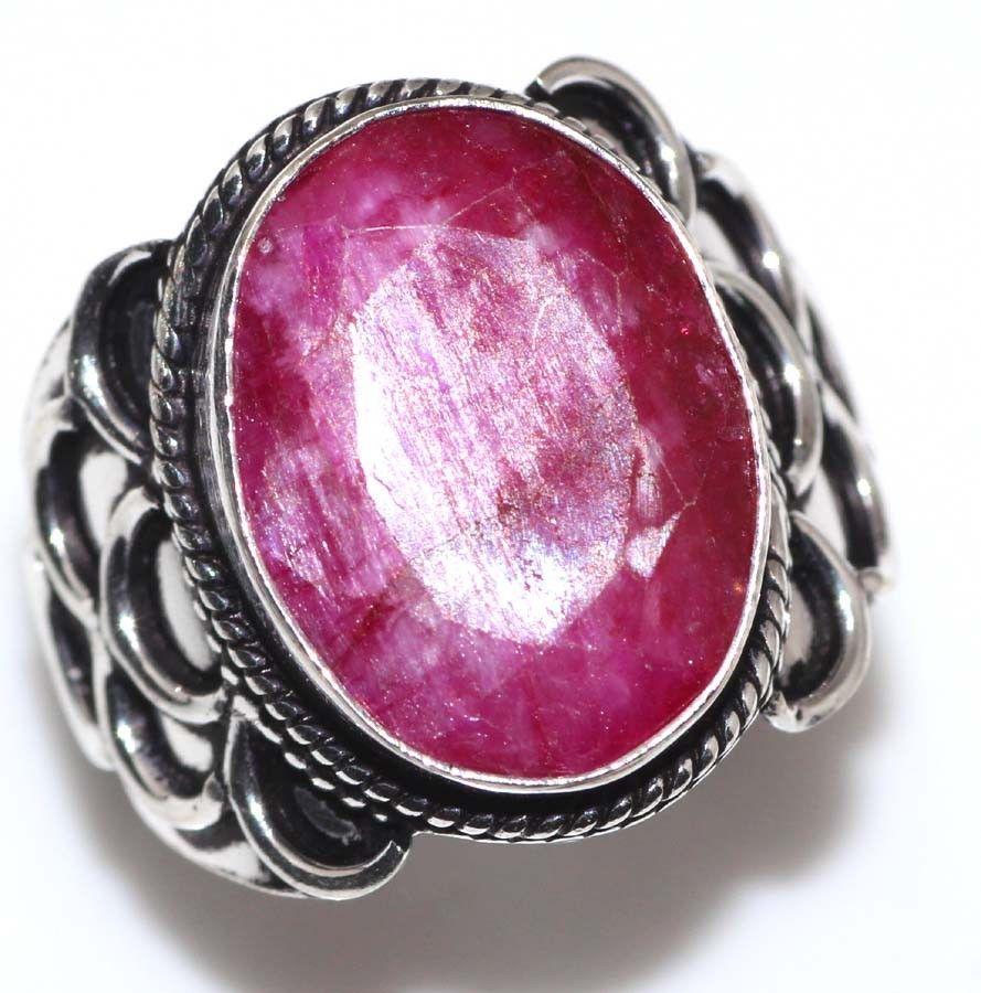 Кольцо рубин 18 размер в серебре. Индия! Кольцо с рубином.