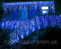 Уличная Светодиодная гирлянда Бахрома ,Голубая, мерцающая, 5х0.8м, 180 LED Черный провод