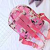 Рюкзак женский кожзам Цветочный принт Розовый, фото 4