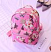Рюкзак женский кожзам Цветочный принт Розовый, фото 3
