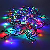 """Уличная Гирлянда Разноцветная RGB """"Нить"""", черный провод, 100LED 10 метров"""
