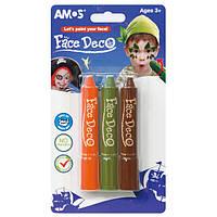 """Краски для грима """"Amos"""" 3штуки (оранжевый, зеленый, коричневый) №FD5B3B"""