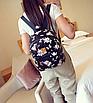 Рюкзак женский кожзам Цветочный принт Черный, фото 3