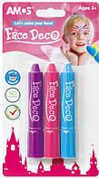 """Краски для грима """"Amos"""" 3штуки (сиреневый, розовый, голубой) №FD5B3G"""