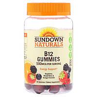 Sundown Naturals, Жевательные мармеладки B12, малина, ягодная смесь и апельсин, 500 мкг, 50 жевательных мармеладок