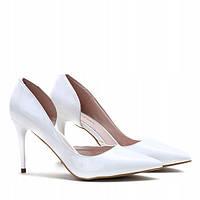 Женские туфли белого цвета на шпильке размер 35-40